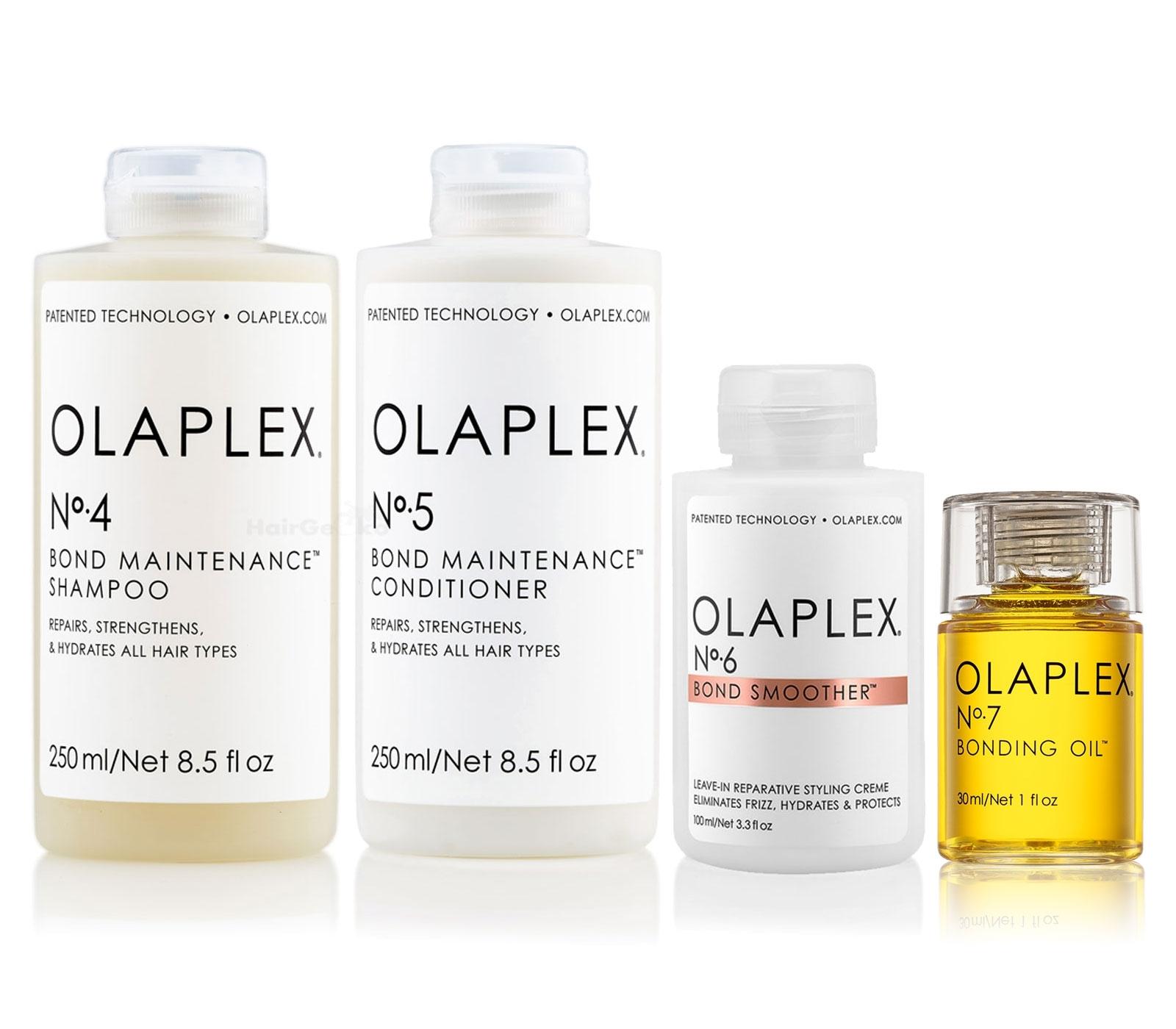Olaplex Set - Olaplex Bond Maintenance Shampoo No 4 (250ml) + Olaplex Bond Maintenance Conditioner No 5 (250ml) + Olaplex Bond Smoother No 6 (100ml) + Olaplex Bonding Oil No 7 (30ml )