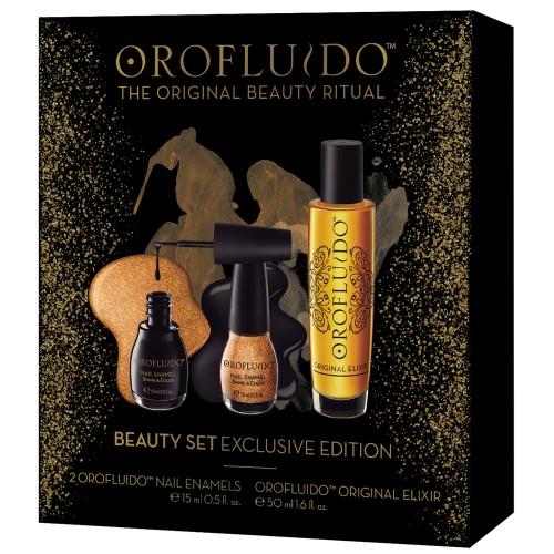 Orofluido Original Beauty Set / Geschenkset - Original Elixir 50ml + 2x Nail Enamels / Nagellack je 15ml
