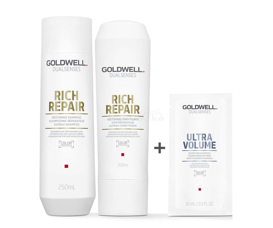 Goldwell Dualsenses Rich Repair Aufbau Set - Shampoo 250ml + Conditioner 200ml + Ultra Volume Kräftigendes Shampoo Sachet 10ml