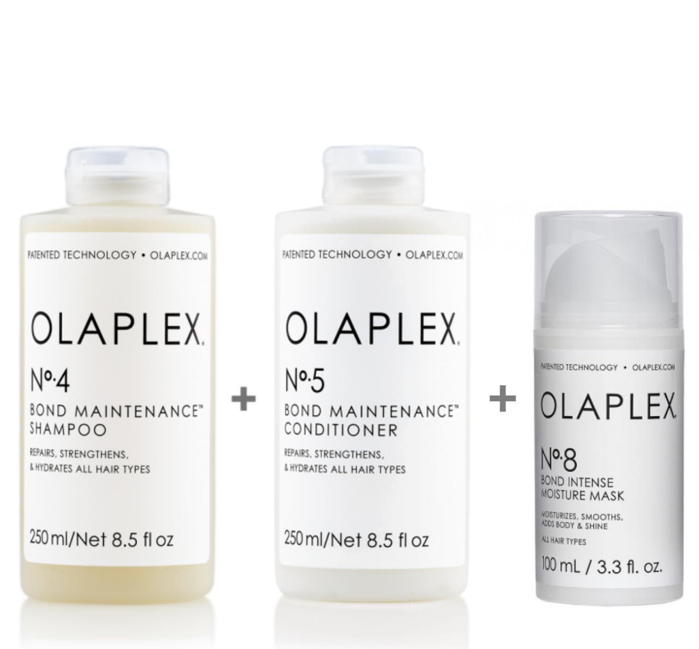 Olaplex Set - Olaplex Bond Maintenance Shampoo No 4 250ml + Olaplex Bond Maintenance Conditioner No 5 250ml + Olaplex Bond Intense Moisture Mask No 8 100ml
