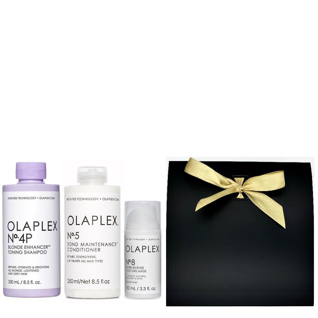 Olaplex Geschenkset Neu - No.4P Blonde Enhancer Toning Shampoo 250ml + No.5 Bond Maintenance Conditioner 250ml + No.8 Bond Intense Moisture Mask 100ml