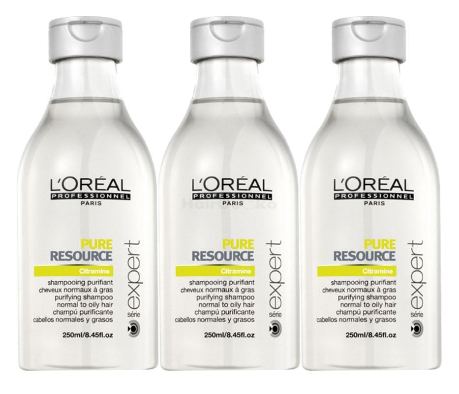 Loreal Pure Resource Shampoo 3x 250ml = 750ml