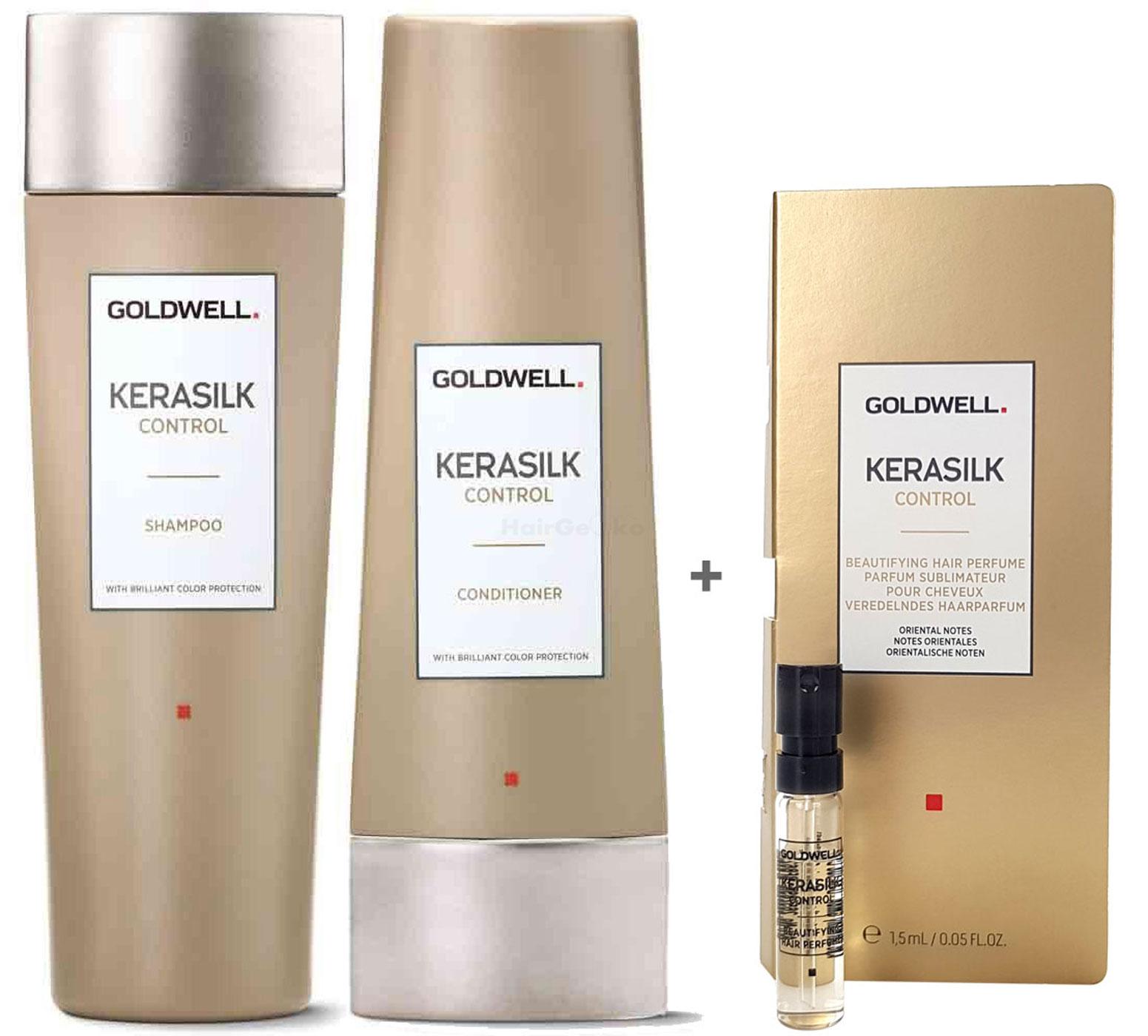 Goldwell Kerasilk Control Set - Shampoo 250ml + Conditioner 200ml + Haarparfum Probe 1,5ml