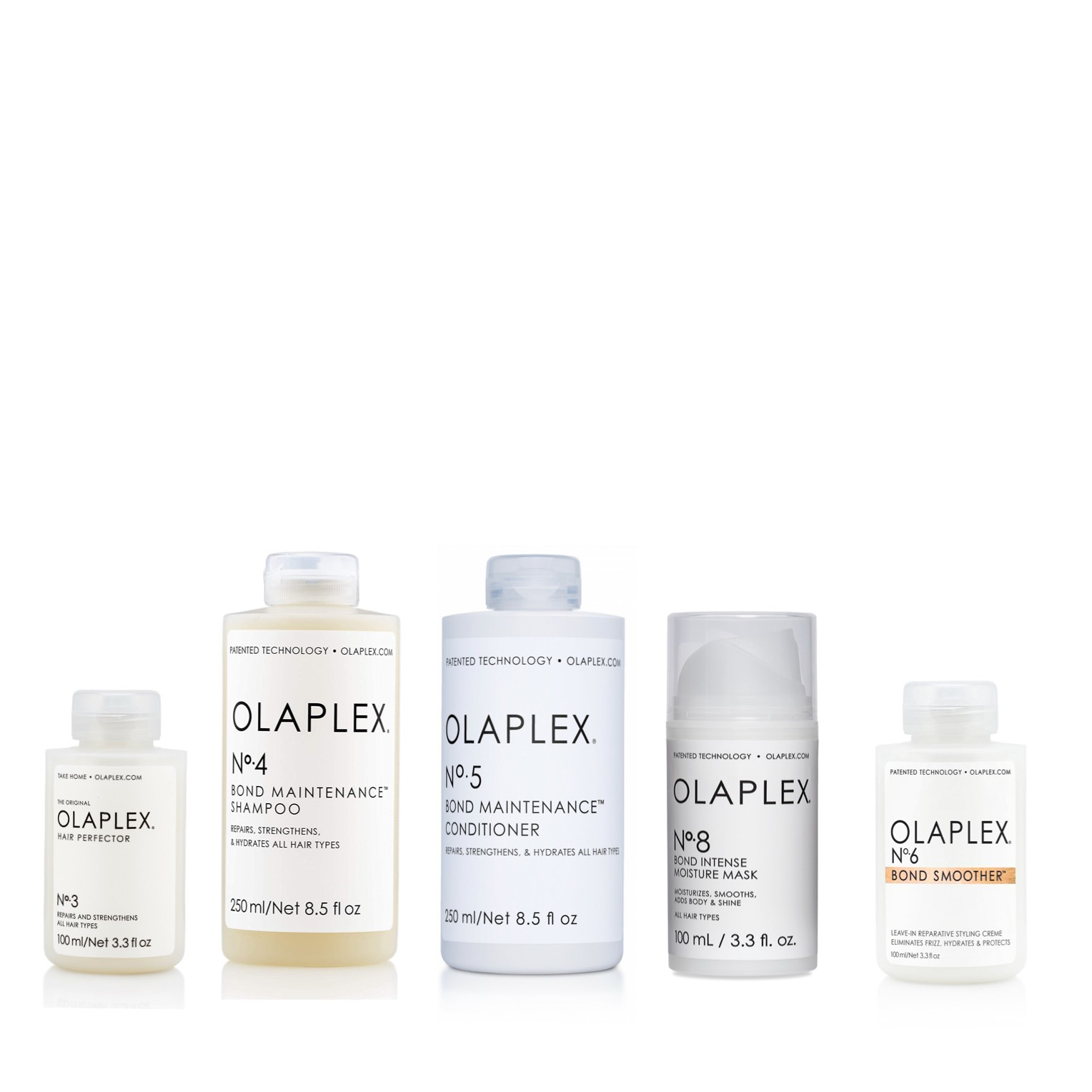 Olaplex Set - Olaplex No 3 Hair Perfector 100ml + Olaplex No 4 Bond Maintenance Shampoo 250ml + Olaplex No 5 Bond Maintenance Conditioner 250ml + Olaplex No 8 Bond Intense Moisture Mask 100ml + Olaplex No 6 Bond Smoother