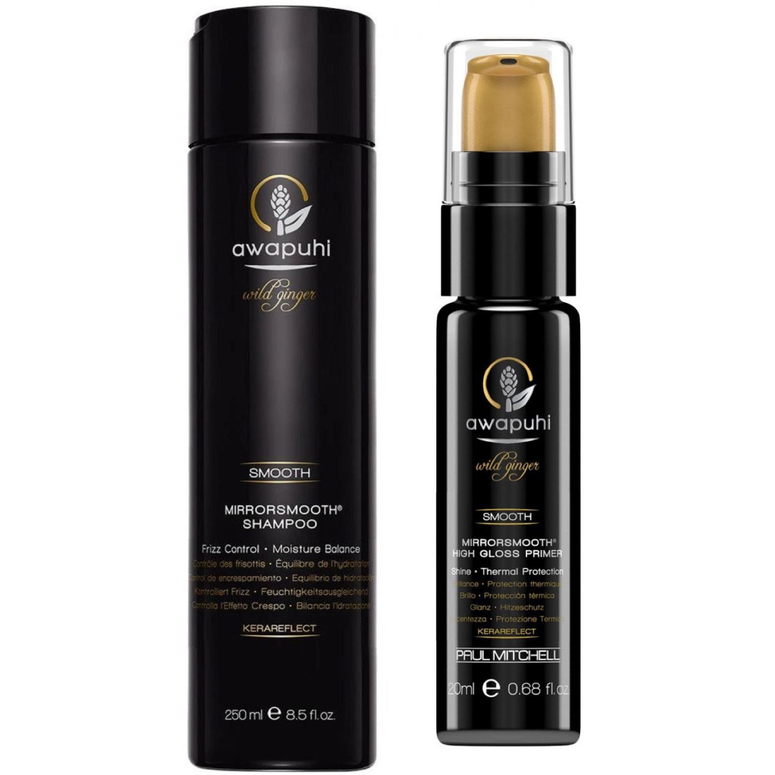 Paul Mitchell Awapuhi Wild Ginger Mirrorsmooth Shampoo 250ml + High Gloss Primer 20ml