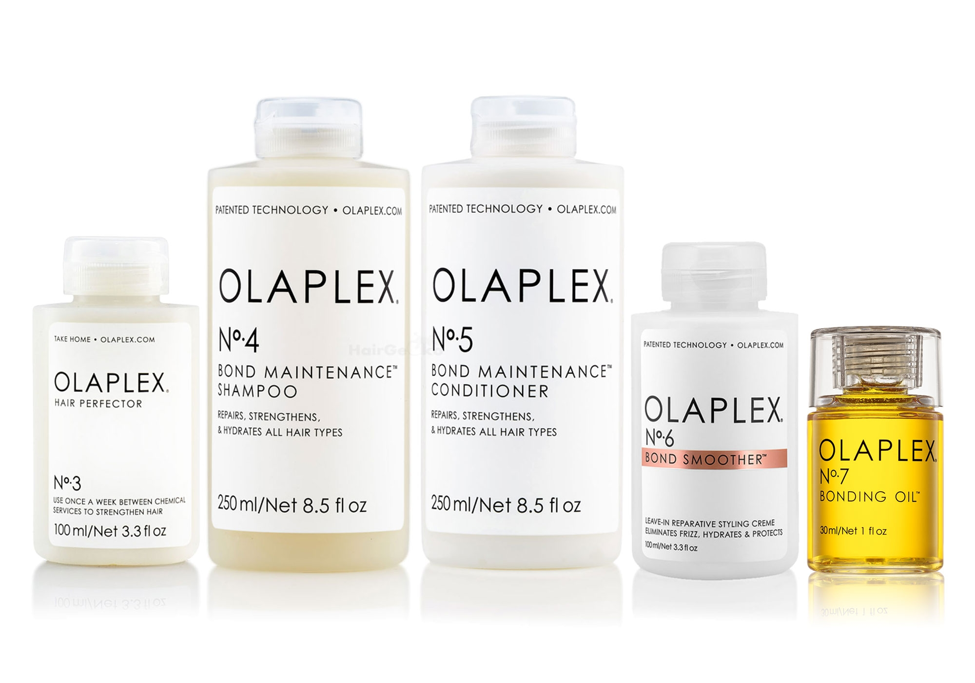 Olaplex Set - Olaplex Bond Maintenance Shampoo No 4 (250ml) + Olaplex Bond Maintenance Conditioner No 5 (250ml) + Olaplex Hair Perfector No 3 (100ml) + Olaplex Bond Smoother No 6 (100ml) + Olaplex Bonding Oil No 7 (30ml)
