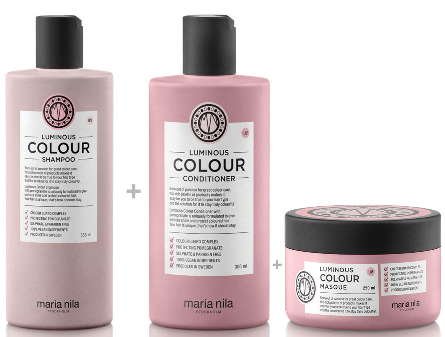 Maria Nila Luminous Colour Set - Shampoo 350 ml + Conditioner 300 ml + Masque / Maske 250 ml
